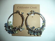 COLDWATER CREEK OMBRE SPARKLE  HOOP EARRINGS NWT