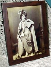 SHABBY BROWN FRAME VINTAGE SEPIA LADY VICTORIAN  SPARKLY PRINT CHIC WALL DECOR
