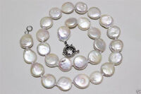 """RARE LARGE 13-14mm NATURAL WHITE COIN SHAPE FRESHWATER PEARL NECKLACE 18""""AAA+"""
