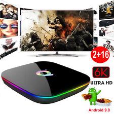 Q plus 6K 2+16G Android 9.0 Smart TV Box Quad Core Media Player 3D Movies Films