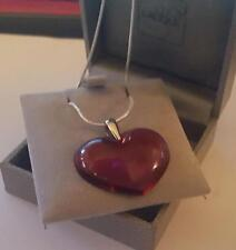 LALIQUE FABULOUS LARGE  HEART 925  SILVER CHAIN/SILK CORD STUNNING