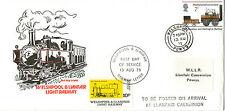 1975 WELSHPOOL & LLANFAIR RAILWAY CARRIED FDC & RAILWAY LETTER STAMP CDSs