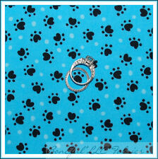 BonEful Fabric Cotton Quilt Aqua Blue Black Cat Dog Paw Print Dot Baby USA SCRAP