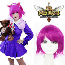 LOL League of Legends Annie Short Magenta Straight Cosplay Full Wigs Halloween