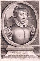 Portrait XVIIIe De Médicis Catherine Caterina de' Medici Duchesse d'Urbino Reine