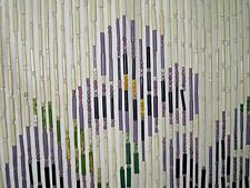 "Lavender Purple Green Irises Beaded Bamboo Window Shade Wall Hanging 20"" X 72"""