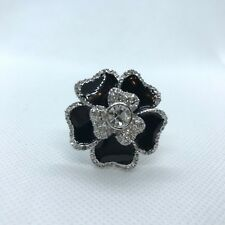 Lia Sophia Blooming Floral Cocktail Ring Black Silver Crystals Size 7 Statement