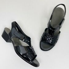 SAS Sunburst Black Patent Leather Low Heel Ankle Strap Sandals - Size 8W Wide