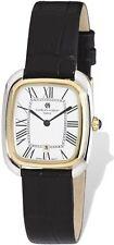 Ladies Charles Hubert IP 2-tone Square Brown Leather Band Watch