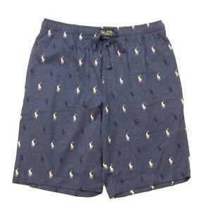 Polo Ralph Lauren Men's Blue Heather All Over Pony Print Cotton Sleep Shorts