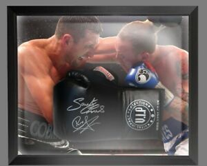Carl Froch And George Groves Dual Signed Black Boxing Glove In A Dome Frame £175