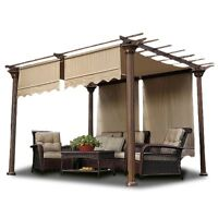 2pcs Patio 15.5x4' Pergola Canopy Replacement Cover Tan UV30+ 200g w/ Valance
