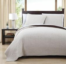 Ivory and Chocolate Project Runway Reversible Coverlet Set Full / Queen Size