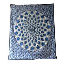 Couverture indienne Tenture Plume de Paon bleu noir 230x210 cm