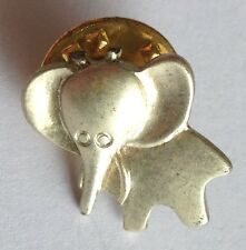Little Silver Style Elephant Pin Badge Rare Collectable (E1)