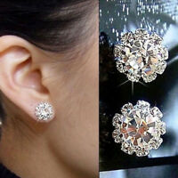 Hot Sale 1 Pair  Fashion Women Lady Elegant Crystal Rhinestone Ear Stud Earrings