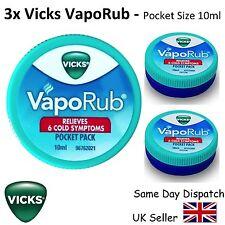 3x VICKS VAPORUB - FAST RELIEF COLD & COUGH & BLOCKED NOSE - 10ml pocket size
