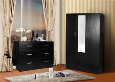 Redfern Storage Package-3 Door Combo Wardrobe + 6 Drawer Chest - Black