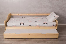 Wooden Bed with Trundle 2 in 1 Single Mattresses Sleepover Daybed kids bedroom