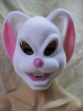 White & Pink Bunny Mask w/ Ears Smiling Rabbit Peter Cottontail Bugs Lola Babs