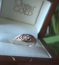 Clogau Welsh 9ct Rose & Yellow Gold Queen Eleanor DIAMOND Celtic Ring  -  size O