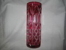 red Germany vintage VASE cut to clear LEAD CRYSTAL geometrical decor 8""