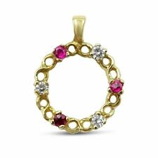 9ct Yellow Gold Ruby and Cubic Zirconia Circle Pendant