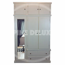 HAND MADE DEWSBURY WHITE TRIPLE FULL MIRRORED WARDROBE WITH TOP BOXES (ASSEMBLED