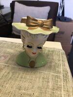 """Vintage Lee Wards Lady Head Vase / Planter / Holder 4.5""""x4"""""""