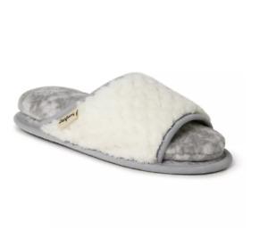 NWT Dearfoams Women's Cloud Step Slide Slipper, Alabaster, X-Large Gray