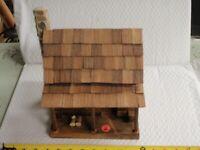 Vintage Hand-Made Folk Art Primitive Wood Log Cabin Rustic House Model STONE #2