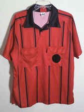 short sleeve red referee jersey with black stripes by High Five size L