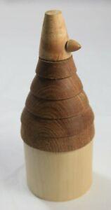 Folk Art Wooden Tower Ornament / Pot Abstract