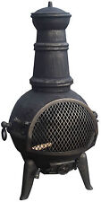 Large Cast Iron Chimenea Chiminea Chimnea Garden Patio Heater Steel Fire Pit 85cm