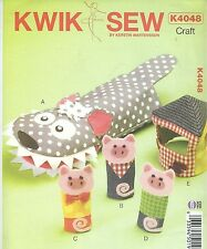Kwik Sew 4048 Finger Puppets, Hand Puppet and House    Craft Sewing Pattern