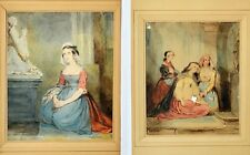 2 Original Aquarelle Fanny Geefs geb. Corr signiert 19. Jh. betende Frauen Gebet