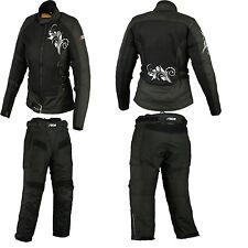 Damen Textilkombi Motorradkombi Textilhose Textiljacke.Schwarz.Gr-XS-2XL