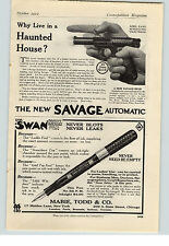 1912 Paper Ad Savage Automatic Gun NY Swan Fountain Pen Mabie Todd & Co Chicago