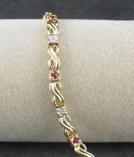 Tennis Bracelet Syn Ruby Sterling Silver Vermeil