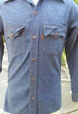 True Vtg 60's/70's Orange Tab Levi Denim Jeans Work Shirt Jacket So-Cal Buttons