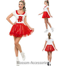 CL714 Sandy Cheerleader Costume School 50s Rydell High Fancy Dress Up Outfit