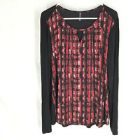 NYDJ Pullover Top Size XL Red Black Long Sleeve Womens Very Soft