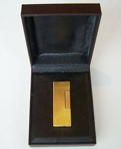 VINTAGE ALFRED DUNHILL GOLD-PLATED CHECK DESIGN ROLLAGAS CIGARETTE LIGHTER w BOX