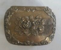 Vintage Trinket Box Silver Tone Velvet Lined Footed Ornate Small