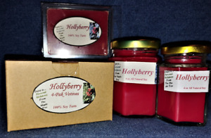 NEW Hand Poured Winter Holiday Scents Soy Candles, Tarts & Votives - Hollyberry