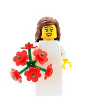 Lego mariage Brune Mariée version & grand bouquet fleurs fille Figurine NEW