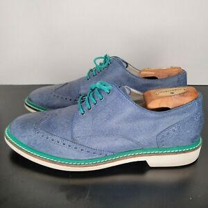 Cole Haan Wingtip Blue Leather Men's Size 8 Teal Trim c19193