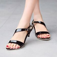 Womens Slingback Sandals Black Patent Leather Fashion Kitten Heel Summer Shoes