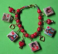Queen of Hearts -Red & Gold Beaded Altered Art Charm Bracelet