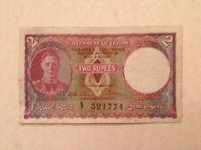 ~ British Ceylon 1941 Two 2 Rupees George VI P 35